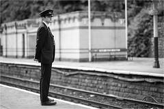 On Guard (Mister Oy) Tags: railway elr station bury d850 mono monochrome blackandwhite guard duty looking candid streetphotography