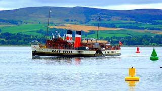 Scotland Greenock the paddle steamer Waverley starting out on a day of cruising video 13 August 2018 by Anne MacKay