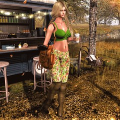 Let's Go (eloen.marie) Tags: secondlife eloensotherworld fall autumn leaves missingmelody entice saturdaysales releases reign fabia fashion avatar girl sexy latte treschic glamaffair anlarposes virtual leggings pretty green hot