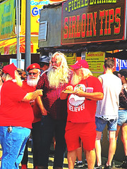 It wasn't XMAS in July but there was more than a few called Santa at the #IndianaStateFair. (kennethkonica) Tags: indianastatefair people animals faces indiana indianapolis indy canonpowershot canon usa midwest america hoosier magicmoment persons color animalplanet animal summer fun fairground fair santaclause santa eating red xmas beards candid