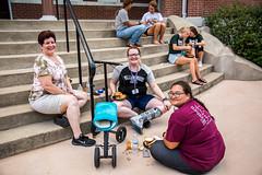 3A2A1334 (William Woods University) Tags: barstool barrow bench furniture human people person transportation vehicle wheelbarrow