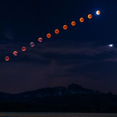 Lunar eclipse sequence (derliebewolf) Tags: lunareclipse mond moon natur gimp bloodmoon schrammsteine saxonswitzerland landscape nightscape stars 85mm composition mountains hiking redmoon sandstone nationalpark sachsen saxony germany summer astrophotography astroscape mars space