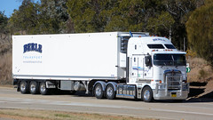 White Sides (4/4) (Jungle Jack Movements (ferroequinologist)) Tags: white side yass nsw new south wales australia hume highway road don watson bacchus marsh vic victoria kenworth wheadons colac eastcoast furniture transport cranbourne berle inglewood daf hp horsepower big rig haul haulage freight cabover trucker drive carry delivery bulk lorry hgv wagon nose semi trailer deliver cargo interstate articulated vehicle load freighter ship move roll motor engine power teamster truck tractor prime mover diesel injected driver cab cabin loud wheel exhaust grunt