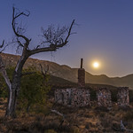 Ruins of the Buckman homestead along Old Highway 80 under a full moon thumbnail