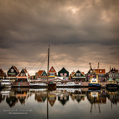 the small port of Volendam (ylemort) Tags: harbor nauticalvessel water night reflection architecture house scandinavia sky outdoors pier norway famousplace woodmaterial dusk sea town builtstructure old travel everypixel canon canon5dmkiv