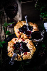 Blackberry Galette with Red Wine Sauce (Zoryanchik) Tags: blackberry galette red wine sauce cake food sweet background rustic delicious snack baked homemade dessert berry dark