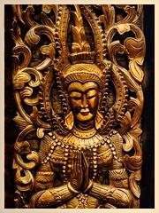 Wall carving. (Mallybee) Tags: stphotographia gold plaque oriental manualfocus oldlens f2 50mm jupiter8 mallybee panasonic lumix dcg9 g9