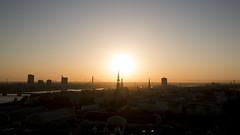 Riga Old Town from above (HansPermana) Tags: riga latvia lettland baltic balticnation balticsea daugava river water sun sunset city cityscape oldtown buildings aerialview silhouette eu europe europa osteuropa spring may 2018