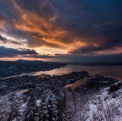 Bergen (siliel) Tags: winter sunset nikon nikond90 zima mountains mountainscape mountain snow fjords light landscape nature norge norway bergen city cityscape sea