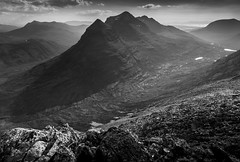 Liathach from Beinn Eighe (Explored) (sunstormphotography.com) Tags: liathach beinneighe torridon westernscotland scotland scottishhighlands blackandwhite landscape canon24105l canon5dmark3 polarisingfilter sandstone