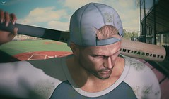 Skip~Lost the battle... (Skip Staheli *10 YEARS SL PHOTOGRAPHER*) Tags: skipstaheli secondlife sl avatar virtualworld digitalpainting baseball sports sweat sweating loss sad feelings outdoor anaposes