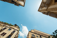 Roofs 01 (Nick Sloter) Tags: purple roof sky building buildings architecture beirut lebanon downtown archtiecture city street cityscape blue clouds yellow travel nikon sigma nikond750 sigma1020mm geometry photography photographer