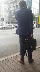 Dutch Businessman 04 (TBTAOTW2011) Tags: businessman business man suit tie pants blue black socks tan dress shoe shoes mature old daddy dad glasses banker hidden camera candid street walking feet foot