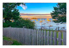 On Penobscot Bay (Timothy Valentine) Tags: 2018 trees 0818 sunset friday sky boats vacation datesyearss fence camden maine unitedstates us ocean