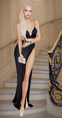 Dinner Date (♡ Nastasya ♡) Tags: mutresse fashion virtualmodel model modelling clutch blonde avale heels anklets belleza ponytail date dinner blackdress slavicgirl sl secondlife blackdragon