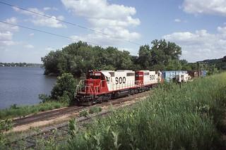 Soo Line SD40-2 #786 in Sabula IA on 6-3-87