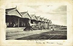 India Railways - City Railway Station, Bangalore (vintage postcard) (HISTORICAL RAILWAY IMAGES) Tags: train india station steam locomotive bangalore mysore