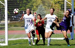 Goalmouth action (stephencharlesjames) Tags: womens sport college sports soccer football action ball middlebury amherst vermont ncaa