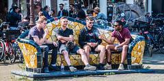 2018 - Amsterdam - Smokin Boys (Ted's photos - For Me & You) Tags: 2018 amsterdam cropped nikon nikond750 nikonfx tedmcgrath tedsphotos vignetting tiles bench tilemosaic newmarket newmarketamsterdam nieuwmarkt nieuwmarktamsterdam amsterdamnieuwmarkt boys males denim denimjeans seating seated bikes bicycles sunglasses streetscene street shadows red redrule