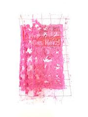 Das Herz! The Heart! (Ines Seidel) Tags: news newspaper paper pink ink fibreart paperart series fullmoon altered zeitung heart herz headlines words worte papier genäht