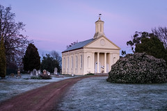 On a cold and frosty morning (WayneG58) Tags: graveyard architecture winter fuji xt2 cold morning yellow driveway church pastels coldandfrosty frost standrews tasmania evandale