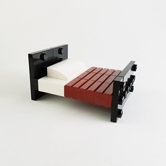 Bed (Blue Striped House MOC) (betweenbrickwalls) Tags: lego interior interiorphotography furniture legofurniture bed bedroominterior