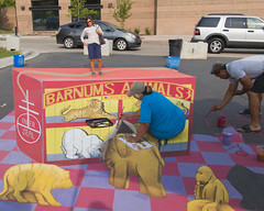 Chalk Art Optical Illusion (aaronrhawkins) Tags: chalk art chalktheblock riverwoods mall provo utah illusion optical photo photography draw drawing sketch circus animal crackers 3d threedimensional colorful miniature trick kellie aaronhawkins