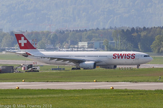 HB-JHE - 2009 build Airbus A330-343E, taxiing for departure at Zurich