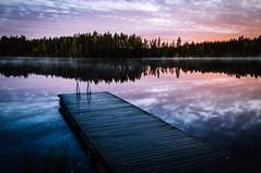 Early morning (mabuli90) Tags: blue finland dock pier lake water grass dawn morning sunrise clouds autumn