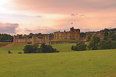 Alnwick Castle (TonyKRO) Tags: alnwick castle northumberland england historic history norman tourist attraction destination travel landscape pink sky green colour image horiontal outdoors outside nobody no one english uk britain great europe scenic scene scenes scenery rural medievil