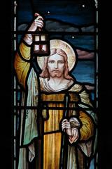 (Kelvin P. Coleman) Tags: canon powershot barrowby church stainedglass window jesus lamp lantern night sky stars summer evening indoor