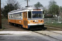 US PA Philadelphia SEPTA-PSTC Red Arrow 81 4-1974 b (David Pirmann) Tags: pa pennsylvania philadelphia septa redarrow pstc philadelphiasuburbantransco interurban train trolley tram transit railroad