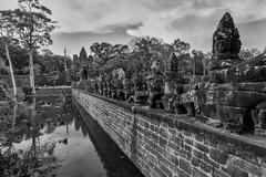 Angkor Thom – South Gate (Thomas Mülchi) Tags: angkor siemreap cambodia 2018 siemreapprovince angkorthom southgate moat bridge gate statues gods deamons naga snake serpentsevenheaded bw monochrome hdr krongsiemreap kh