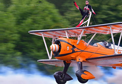 Not for the nervous... (Ian A Photography) Tags: aeroplanes aerobatics acrobatics aircraft airfestival airshow aviation aerosuperbatics bigginhill boeing boeingstearman nikon planes stearman wingwalkers