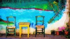 Table and Chairs - Brushstroke (joseph_donnelly) Tags: colors table wall chairs greece crete ipad digital art painting brushstroke