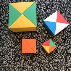 ORIGAMI BOXES (1) (JOHN MORGANs OLD PHOTOS.) Tags: made by john morgan 160 gsm card for my ribbon brooches origami boxes box