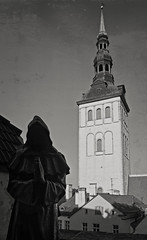 Niguliste bell tower (Tigra K) Tags: tallinn harjucounty estonia ee 2018 architecture bw baroque church city contemporary gothic metal niguliste religious repetition sculpture spire statue tower weathervane window arch pattern art