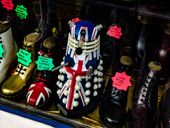 DM's - Dalek Martians' (Steve Taylor (Photography)) Tags: doctormartins doctorwho drwho dalek shop boot unionjack gold black red white blue flag pascalgoldspectra classic 8eye cushionedsole fashion display toy window plastic uk england london camden gb greatbritain leather