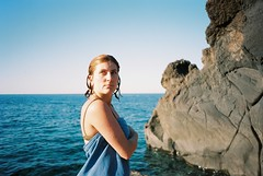 Stromboli (cranjam) Tags: italy italia stromboli mare sea marmediterraneo mediterraneansea island isola eolie sicilia sicily ricoh gr1 gr1v film kodak portra160 elena