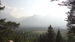 View of Rocky Mountains and Bow Valley Through Forest Fire Smoke From Deck of HI Alpine Centre Hostel, Canmore, Alberta, Canada (dannymfoster) Tags: canada alberta canmore rockies rockymountains bowvalley view