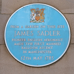 From a garden on this site James Sadler pioneer English aeronaut made the first manned balloon ascent in Manchester 12th May 1785 (nick.harrisonfli) Tags: plaque manchester jamessadler london england unitedkingdom gb openplaques:id=738