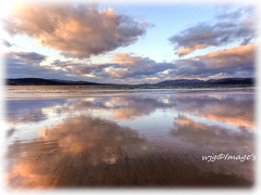 Clouds reflecting on the wet shore, Lisfannon, Co. Donegal. (willieguildea) Tags: clouds sky reflections wwater waterscape beach sand coast coastal lisfannon donegal ireland eire evening twilight nikon water sunset coolpix p900