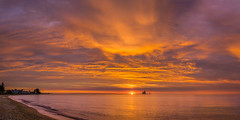 Transcendent Flourish (PopsDigital) Tags: panorama panoramic pano lighthouse pier harbor kewaunee sunrise sunset earlymorning morning early dawn lakemichigan doorcounty water lake sun sky beach shore clouds orange red silhouette calm billpevlor popsdigital photography wi wisconsin landscape seascape color colour sonyslta77v