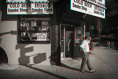 Brooklyn, New York (DDDavid Hazan) Tags: brooklyn newyork nyc ny streetphotography street cornerstore cornershop sidewalk bright sunlight shopkeeper flipflops firehydrant shadows streetcorner corner intersection pavement anaglyph 3d 3danaglyph 3dstereophotography redcyan redcyan3d stereophotography stereo3d