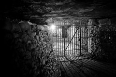 Trapped - Catacombes, Paris, France (pas le matin) Tags: dark creepy sombre scary travel paris france europe europa world voyage city street catacombes bw nb noiretblanc blackandwhite bones os skull crane grille fence light lumière canon 350d monochrome canon350d canoneos350d