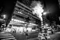 East 44th Street NY (rvjak) Tags: ny usa etatsunis new york d750 nikon black white noir blanc street rue femme woman night nuit smoke fumée park summer été united states absoluteblackandwhite