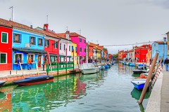 Colourful streets of Burano (EmmaClark27x) Tags: venice italy burano colourful colour color nikon hdr buildings city boats boat canal venicecanals architecture