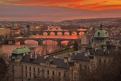 Ponti rossi / Red bridges (Vtalva Bridges, Prague, Czech Republic) (AndreaPucci) Tags: prague czechrepublic vltava sunset letna charlesbridge staremesto andreapucci