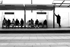 The empty chair (pascalcolin1) Tags: paris13 homme hommes man men chair chaise avenuedefrance tram tramway arrêt station photoderue streetview urbanarte noiretblanc blackandwhite photopascalcolin 50mm canon50mm canon