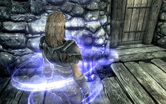 Blessing ~ Shrine of Arkay (Rain Love AMR) Tags: falkreath ninedivines altmer highelf armor purple energy activation skyrim screencap screenshot pc gaming blue